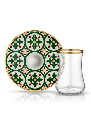 Koleksiyon Dervish Çay St 6'lı Karo Yeşil Mat Altın Seffaf-Koleksiyon